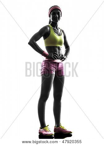 one caucasian woman runner exercising posing    in silhouette on white background