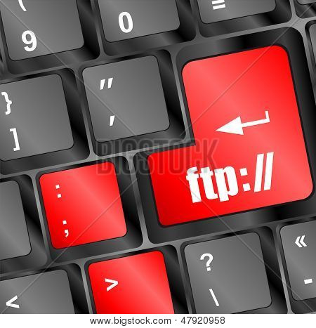 Computer Keyboard With Ftp Key, Technology Background