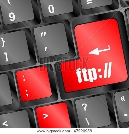 Teclado de computador com a chave de Ftp, fundo de tecnologia
