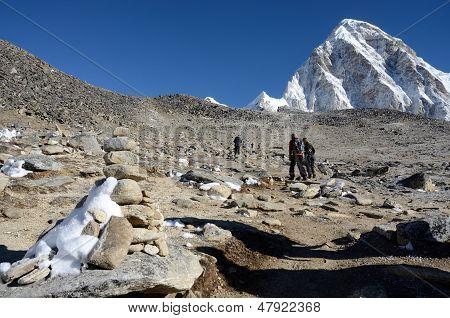 Hikers Climbing To Kala Patthar Peak (5164 M ),Nepal,Asia