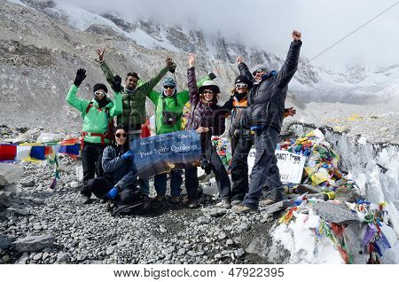 Hikers finishing trek to first Everest Base camp (5364 m ),Nepal