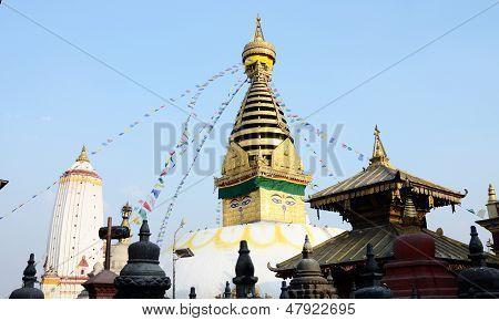 Swayambhunath Stupa Religious Complex Or Monkey Temple In Kathmandu, Nepal, Asia