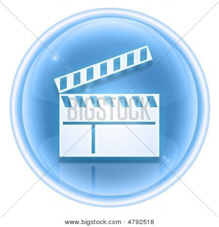 Movie Clapper Board Icon Ice