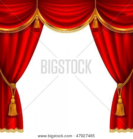 Theater stage with red curtain. Detailed vector illustration.