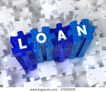 Creative 3D pieces of puzzle and word LOAN