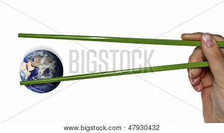 Lost Blue Planet Earth Between Green Chopsticks