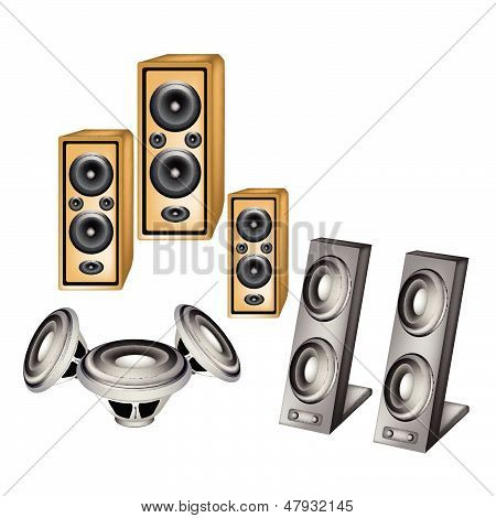 A Set Of Speaker On White Background