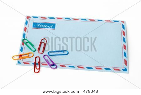 Envelope And Clips In Isolated Background