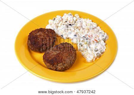 Burger And Potato Salad