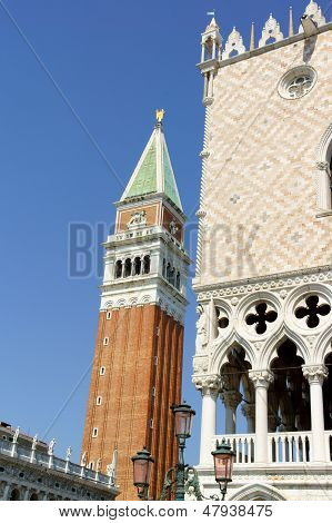 Basilica Of Saint Mark Bell Tower And Palazzo Ducal, Venice