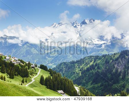Mountain View Landscape In The Alps France