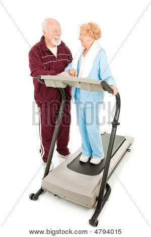Seniors Flirting At The Gym