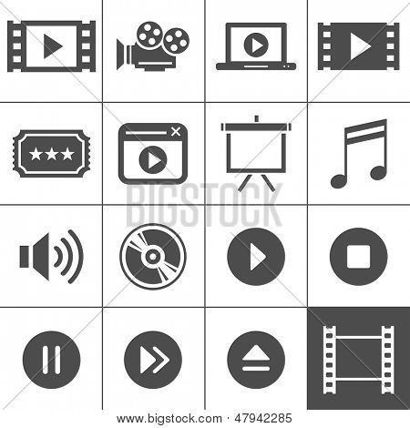 Video and cinema icon set. Simplus series. Each icon is a single object