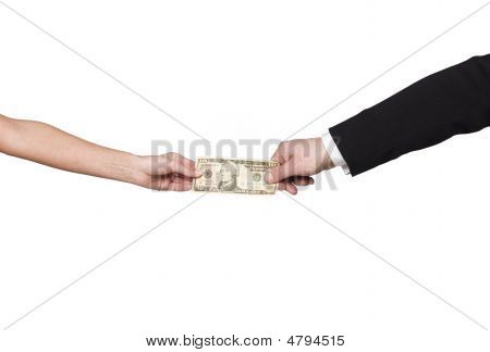 Two hands holding the same dollar-bill