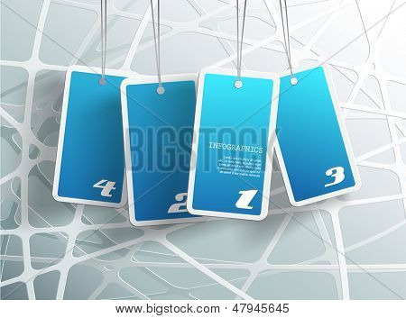 Four hanging blue cards. You can place your own text on each card.