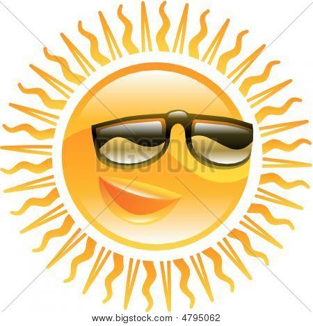 Smiling Sun With Sunglasses Illustration
