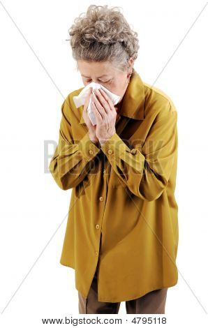 Senior Woman With A Cold.