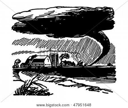 Tornado Approaching Farm - Retro Clip Art Illustration