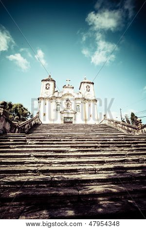 Chico Rei Church In Ouro Preto - Minas Gerais - Brazil