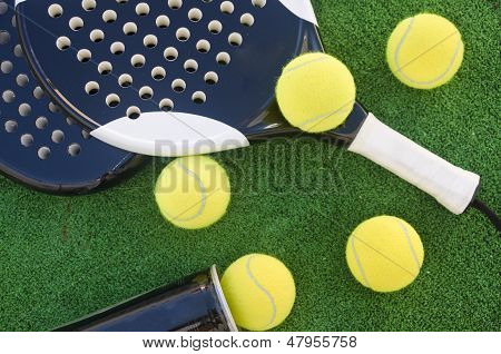 Paddle Tennis Objects, Balls And Rackets