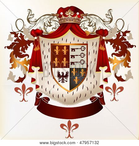 Heraldic Vector Element With Coat Of Arms And Ribbon