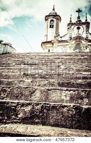 View Of The Igreja De Nossa Senhora Do Carmo Of The Unesco World Heritage City Of Ouro Preto In Mina