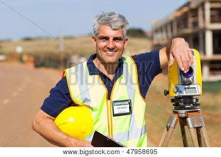 middle aged land surveyor portrait outdoors
