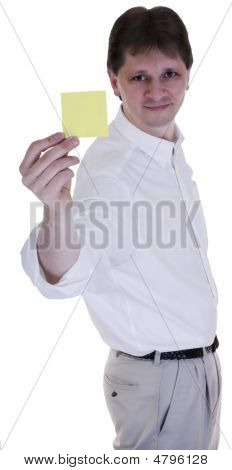 Man With Yellow Sticky Note