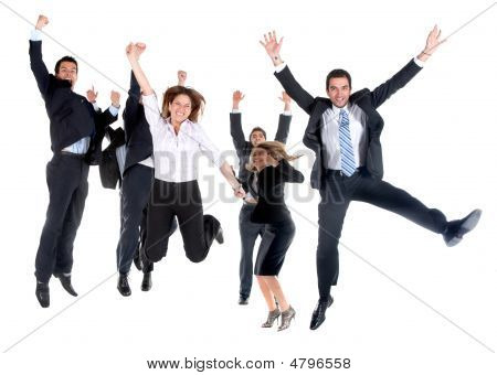 Business Team Jumping