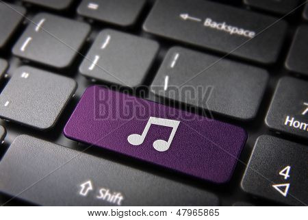 Purple Music Note Keyboard Key, Entertainment Background