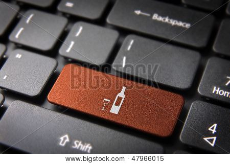 Orange Wine Bottle Keyboard Key, Food Background