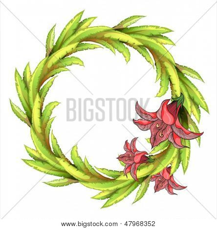 Illustration of a round leafy border with big flowers on a white background