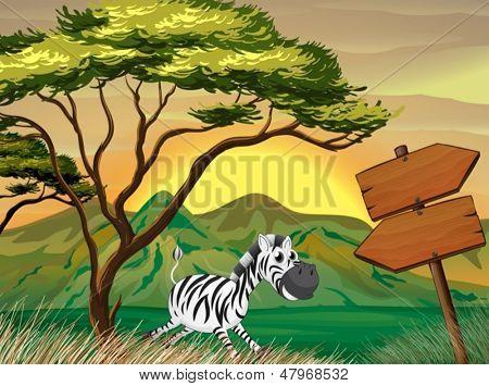 lllustration of a zebra running following the wooden arrowboards