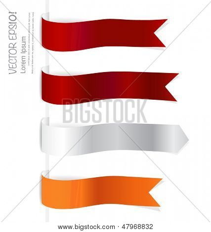 Shiny ribbon promotional products design with copy space. Vector illustration.
