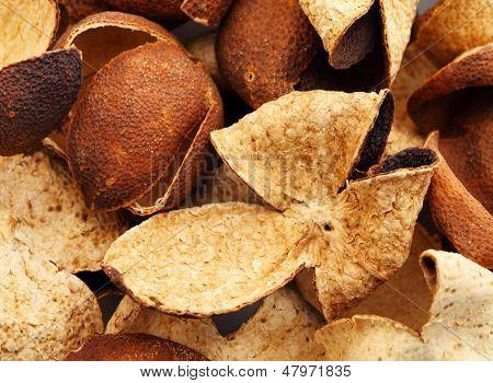 Heap of dried tangerine peel
