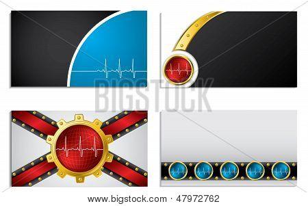 Business Card Set With Ekg Symbol