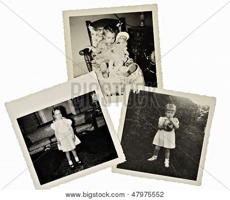 Retro Scrapbook Photos Of Girl