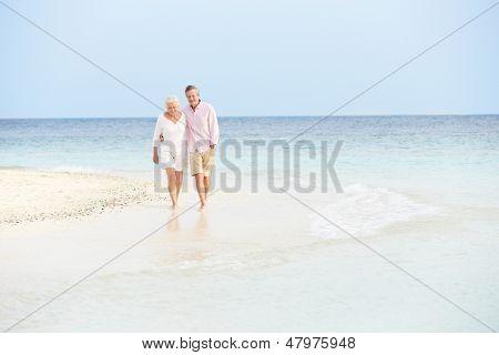 Casal romântico sênior, caminhar na bela Praia Tropical
