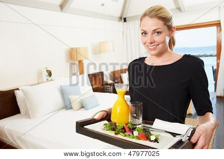 Retrato de trabalhador do Hotel oferecendo serviço de quarto refeição