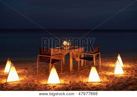 Table Set For Evening Meal In Outdoor Restaurant