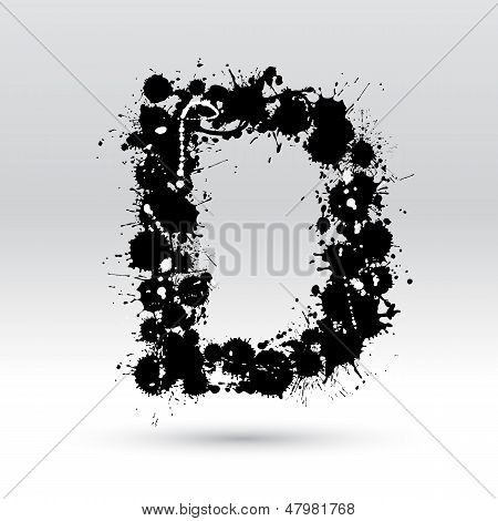 Letter D Formed By Inkblots