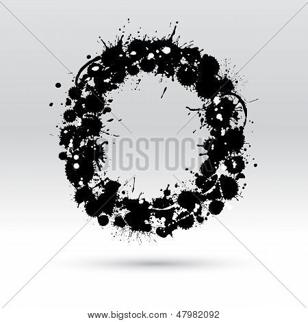 Letter O Formed By Inkblots