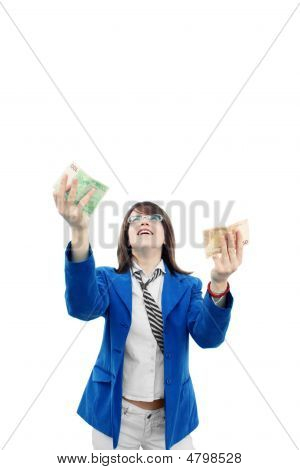 Happy Women Catching Money