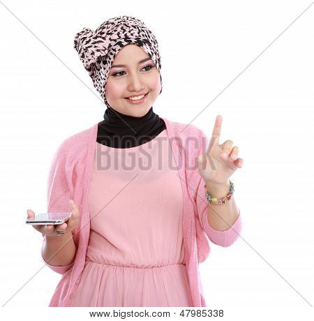 Woman In Head Scraf Holding Smartphone And Working On Touching Screen