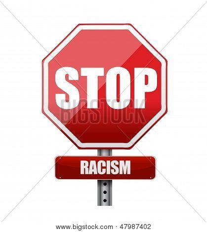 Stop Racism Road Sign Illustration Design