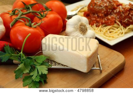 Fresh Dinner Ingredients For A Pasta Meal