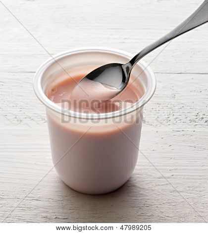 Plastic Tub Of Healthy Fruit Yoghurt