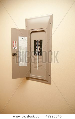 Indoor Home Open Electrical Breaker Panel