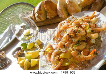 Al fresco dining with fresh shrimp