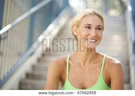 Beautiful Woman On Steps